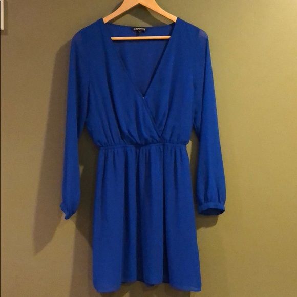 5323d77133ea Express Dresses & Skirts - Express Royal Blue Long Sleeve Chiffon Dress